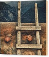 Rustic Ladder On Adobe House Wood Print