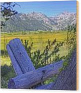 Rustic Moss Covered Pioneer Era Fence In Olympic Valley California Wood Print