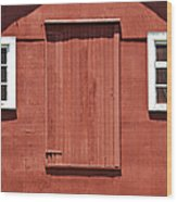 Rustic Red Barn Door With Two White Wood Windows Wood Print