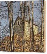 Rustic Stone House Wood Print