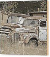 Rustic Trucks Wood Print
