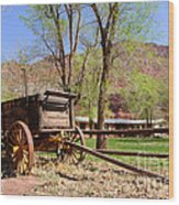 Rustic Wagon At Historic Lonely Dell Ranch - Arizona Wood Print