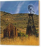 Rustic Windmill Wood Print