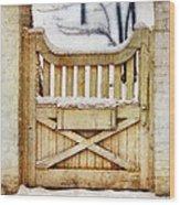 Rustic Wooden Gate In Snow Wood Print