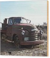 Rusty Abandoned Chevy Truck Wood Print