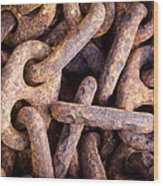 Rusty Anchor Chains In Key West Wood Print by Adam Pender