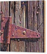Rusty Barn Door Hinge  Wood Print by Garry Gay