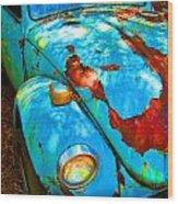Rusty Blue Wood Print by Kendra Longfellow