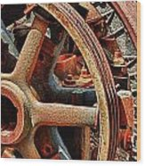 Rusty Flywheel  Wood Print