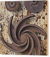 Rusty Gears Wood Print