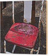 Rusty Metal Chair Wood Print by Garry Gay