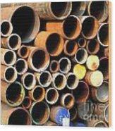 Rusty Steel Pipes Wood Print