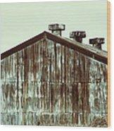 Rusty Tin Factory Building Wood Print