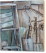 Rusty Tools Wood Print by Jean Groberg
