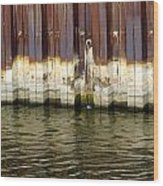 Rusty Wall By The River Wood Print
