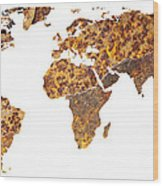 Rusty World Map Wood Print