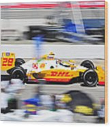 Ryan Hunter-reay Exiting Pit  Road Wood Print