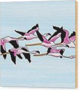 Sa Genti Arrubia  Flamingos Wood Print