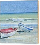 Sabinillas Fishing Boats Wood Print by Stephanie Aarons