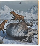 Sabre-toothed Tigers Battle Wood Print