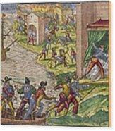 Sack Of Cartagena, C1544 Wood Print by Granger