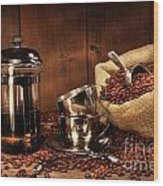 Sack Of Coffee Beans With French Press Wood Print