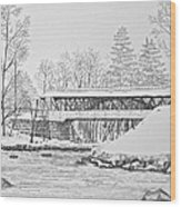 Saco River Bridge Wood Print