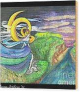 Sage Moon Wood Print by Rebecca Stephens