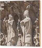 Sagrada Familia Nativity Facade Detail Wood Print
