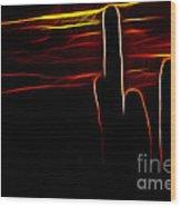 Saguro Cactus Silhouette Wood Print