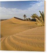 Sahara Desert At M'hamid, Morocco, Africa Wood Print