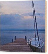 Sailboat And Dock Wood Print