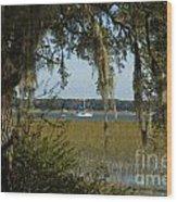 Sailboat And Moss Wood Print