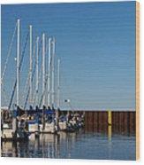 Sailboat Docking By Break Water Wall Wood Print