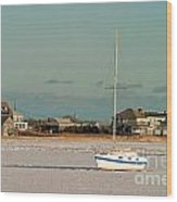 Sailboat In Frozen Hyannis Harbor On Cape Cod In Winter Wood Print