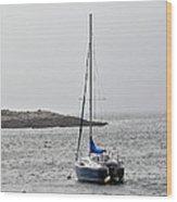 Sailboat In Maine Fog Wood Print