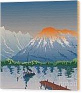 Sailboat Jetty  Mountains Retro Wood Print