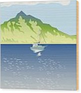 Sailboat Mountains Retro Wood Print