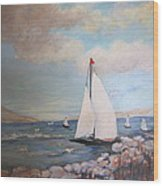 Sailboating In The Carribean Wood Print