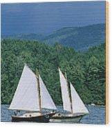 Sailboats And Darkening Sky, Lake Wood Print