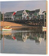 Sailboats And Harbor Waterfront Reflections Wood Print
