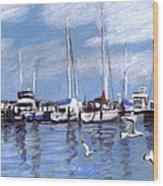 Sailboats And Seagulls Wood Print