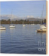 Sailboats At Anchor In Bowness On Windermere Wood Print