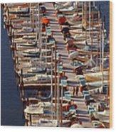 Sailboats At Moorage Wood Print