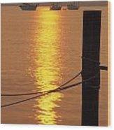 Sailboats At Sunset Wood Print