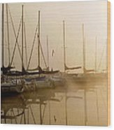 Sailboats In Golden Fog Wood Print