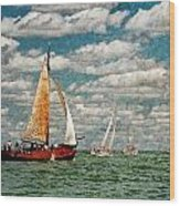 Sailboats In The Netherlands By The Zuiderzee Wood Print