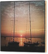 Sailboats In The Sunset Wood Print