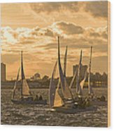 Sailboats On Lake Ontario At Sunset Wood Print