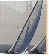 Sailboats Race On San Francisco Bay Wood Print